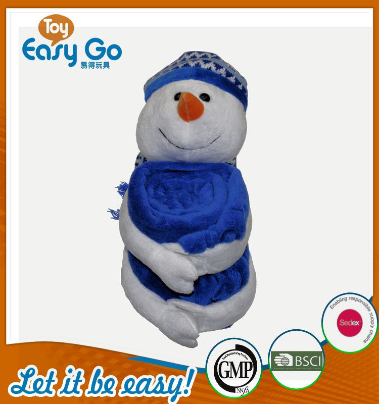 cheap Christmas gift plush blanket with snowman plush toy pl