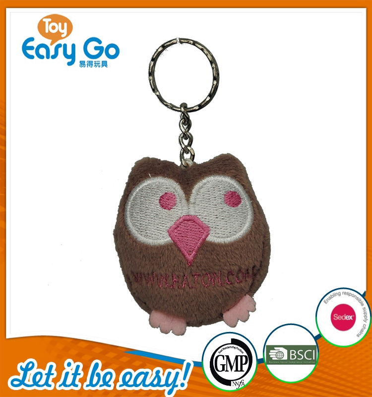 Customized OEKO Bsci Icti plush owl key chain