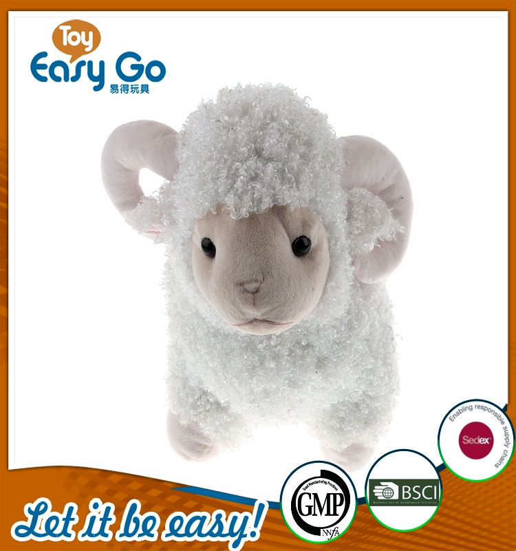 plush standing white sheep with pink cavel