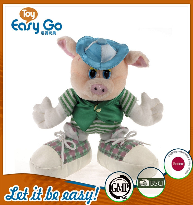 GMP plush standing uniform pig with hat and shoes