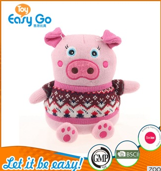 knitted pig toys with pink round face