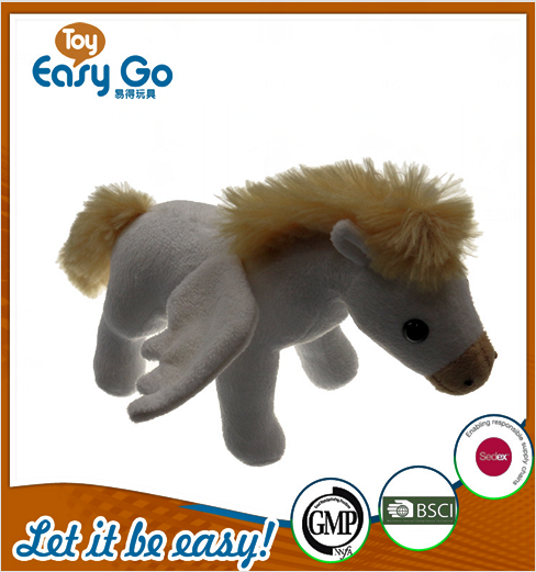 Customized have a pair of wings white horse mascot plush toy