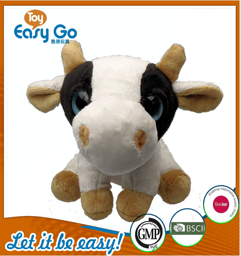 sedex factory sitting cow with big eyes plush toys