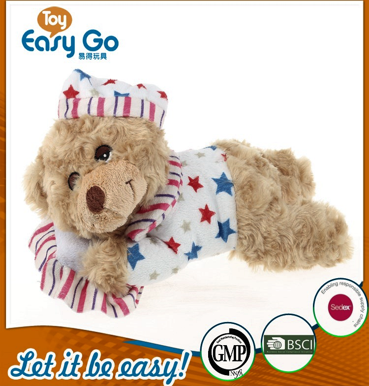 customized plush sleeping bear with pillow and star T-shirt