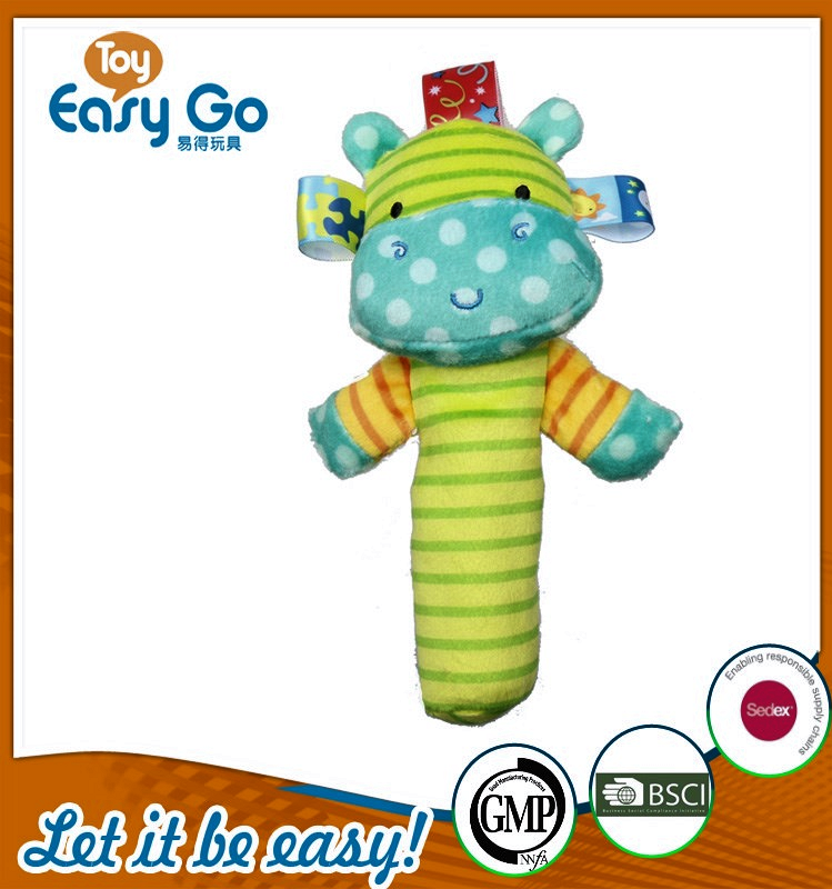 Hot sale soft green hippo rattle for baby