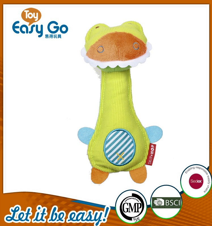 Hot sale soft green baby rattle