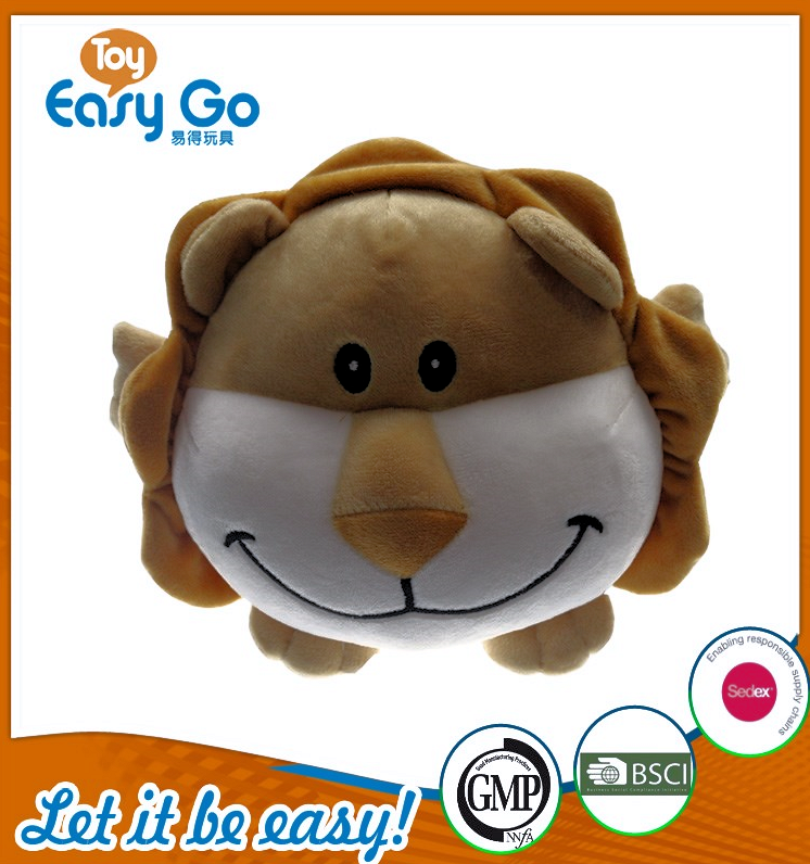 high quality stuffed brown mini round lion toys