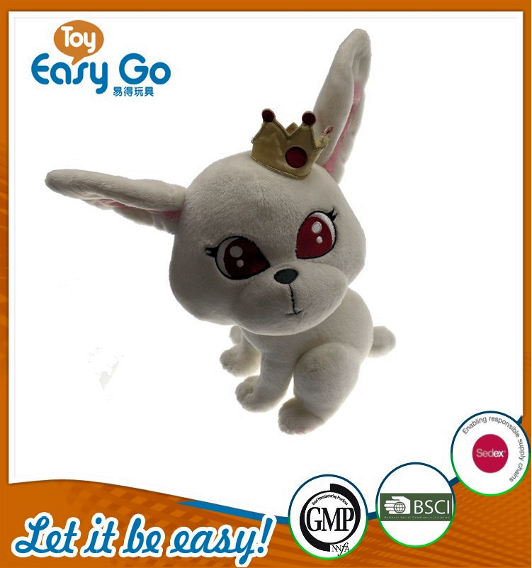 SEDEX high quality stuffed white rabbit with crown