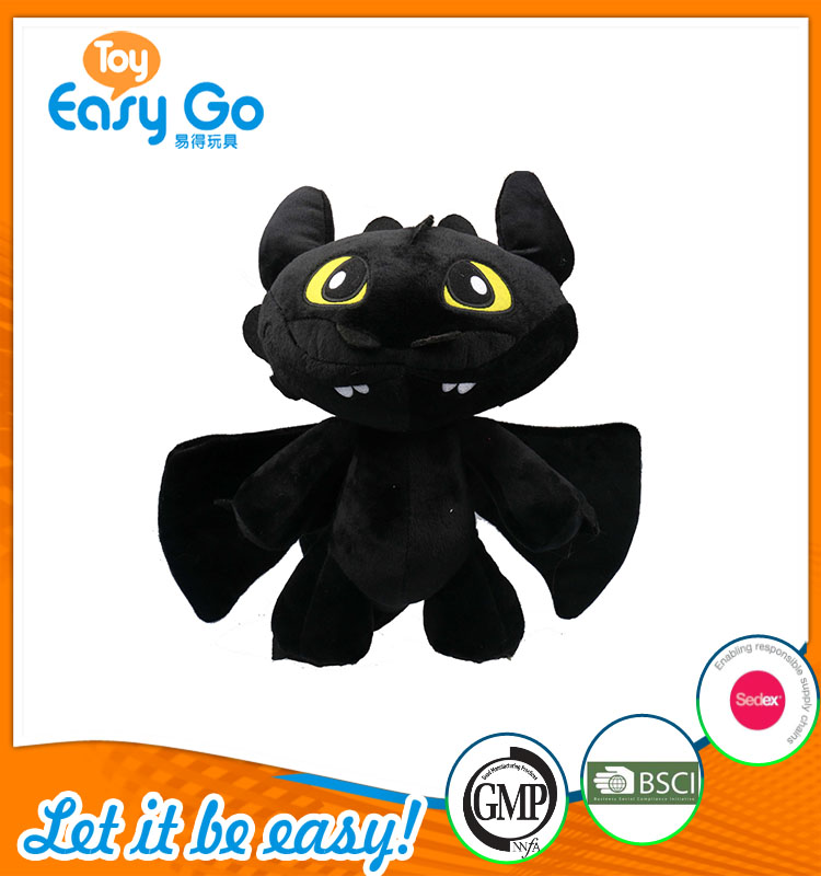 high quality customized production cute black dragon plush t