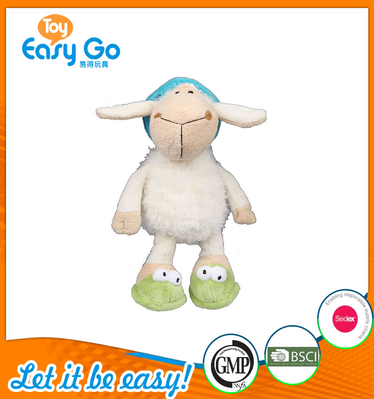 high quality customized production white sheep with blue hat