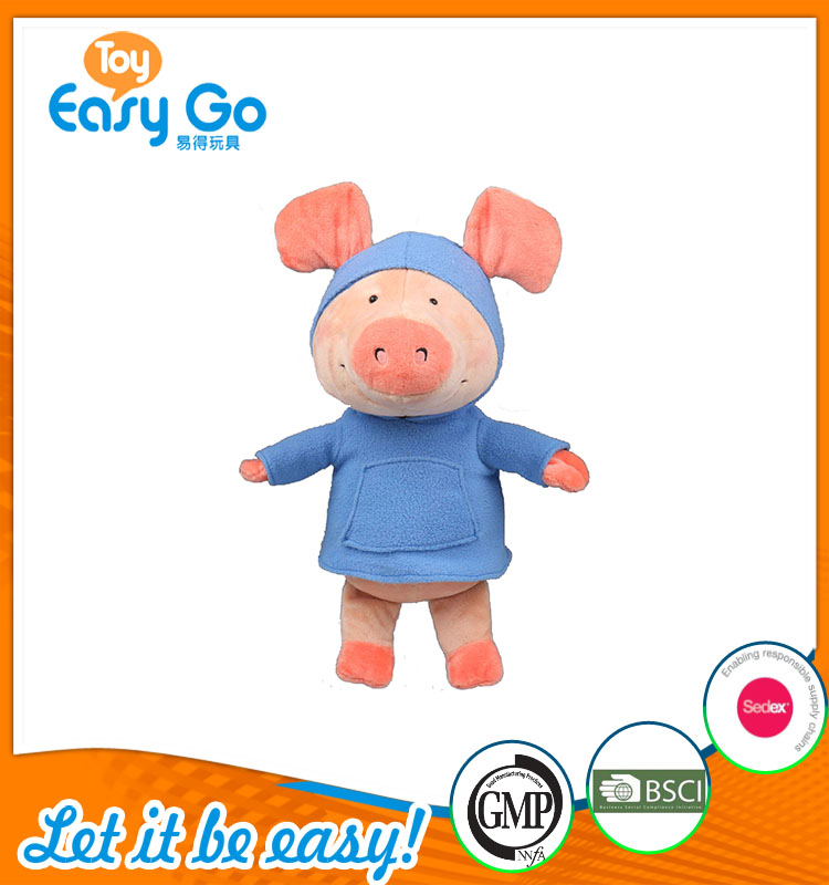 high quality customized production light pink pig in blue cl
