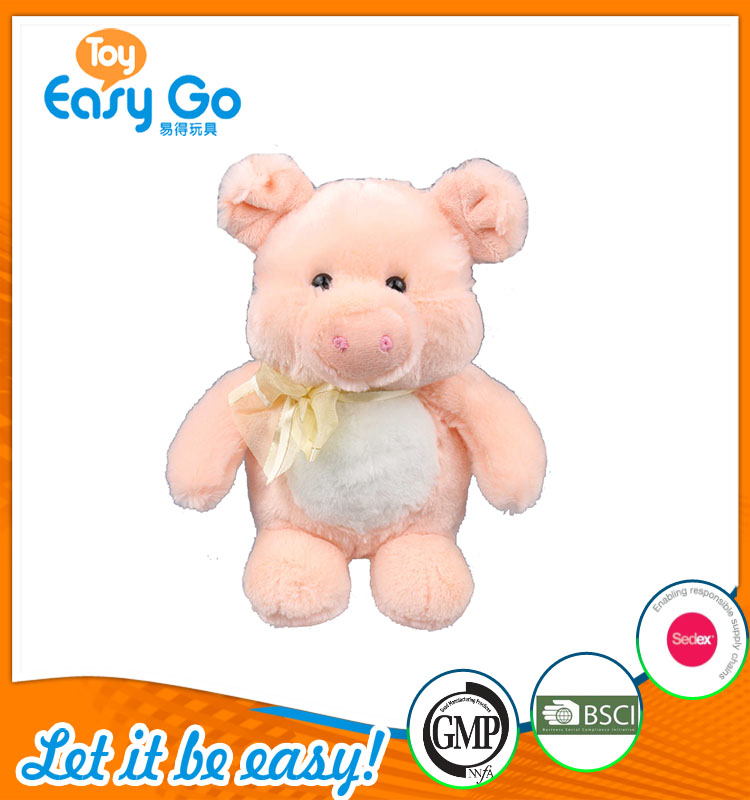 high quality customized production cute light pink pig plush