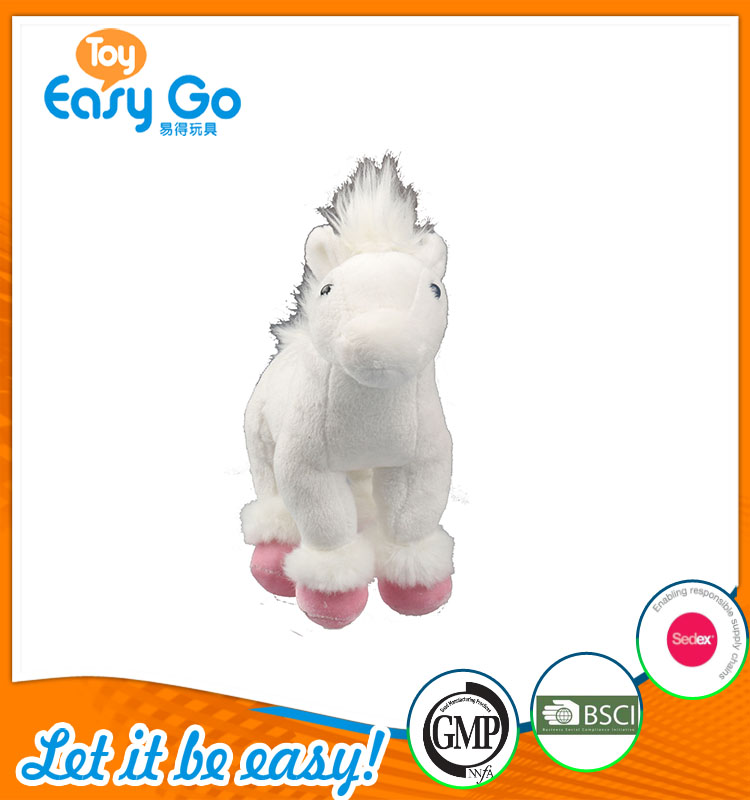 high quality customized production cute white horse plush to
