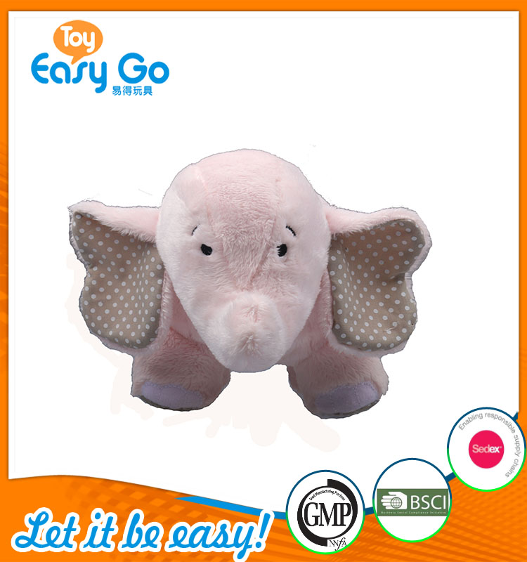 high quality customized production cute pink elephant plush