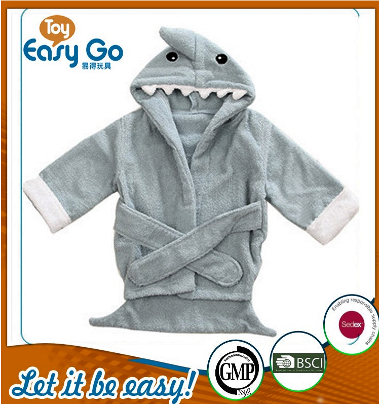 Wholesale cute grey shark bathrobe for baby
